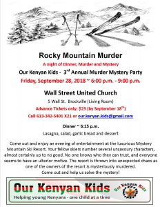 Rocky Mountain Murder Mystery @ Wall Street United Church | Brockville | Ontario | Canada