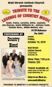 Tribute to the Legends of Country Music by Country Blend Band @ Wall Street United Church | Brockville | Ontario | Canada