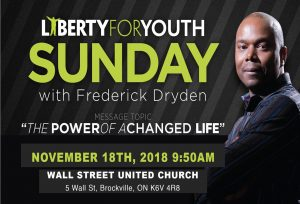 Special Service with Liberty for Youth founder Frederick Dryden @ Wall Street United Church