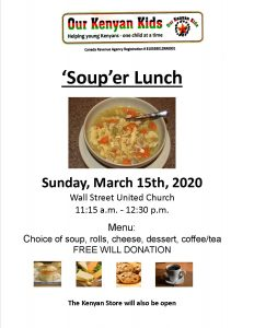 Our Kenyan Kids - Soup Lunch @ Wall Street United Church