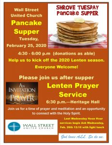 Pancake Supper for Shrove Tuesday @ Wall Street Gym